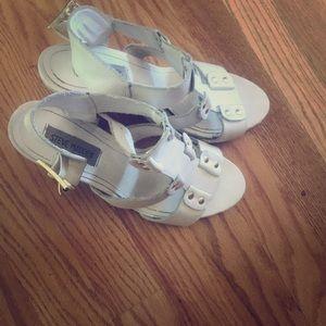 Steve Madden white sandals, size 9